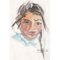 Nº 187 - Rostro De Muchacha - Acuarela De Beatriz Silva.