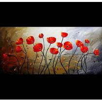 Cuadros Flores Texturados Pintados A Mano Piezas Grandes