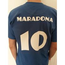 Remeras Estampadas Napoli Retro Maradona En Algodon !!