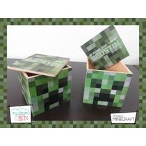 Cajas Personalizadas Madera 9cm2 Minecraft Souvenirs Creeper
