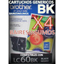 Brother Lc60 Lc-60 Lc 61 Lc-61 Genericos X4 Negros Lleva 4