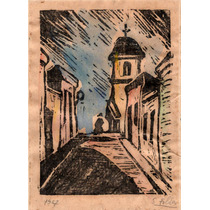 Nº 217 - Calle De La Iglesia - Grabado De Susana Foldes