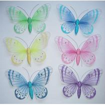 Mariposas De Organza Surtido De Colores 16 X 11 Cms.