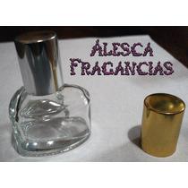 60 Frascos De Vidrio Corazón Tapa Plata Mate + Perfume