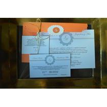Invitacion Participación Boda 15 Kit: 1 Sobre, 3 Tarjetas