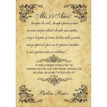 10 Tarjetas Cumple Pergamino 15 Años, Casamientos 14x20 Cm
