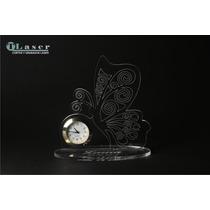 Souvenir Acrilico 15 Años Mariposa C/reloj C/ Datos Grabado