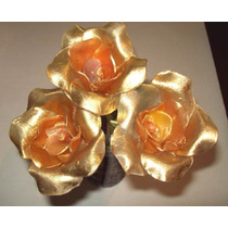 15 Rosas Oro O Plata, En Parafina Velas Souvenir Artesanales