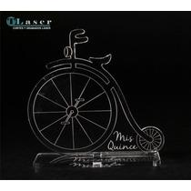 Souvenir Acrílico 15 Años Bicicleta, C/tus Datos Grabados