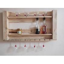 Estantería Especiero - Madera De Pallet - Copas Y Botellas
