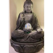 Fuente De Agua Con Buda Y Esfera De Vidrio Con Luz