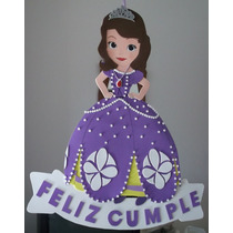 Cartel Cumpleaños - Princesa Sofia - Goma Eva 50 X 30 Cm