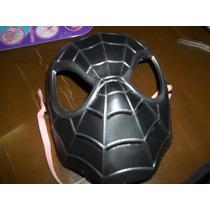 Mascara De El Hombre Araña Negro De Plastico Duro