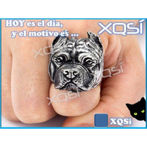Xqsí Anillo Diseño Perro Pitbull 3d Regalo Bijou Animal