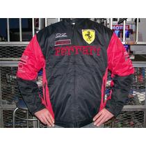Campera Ferrari Roja Y Negra Con Marcas!!!!