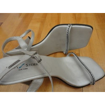 Zapatos Sandalias Lady Stork Originales Cuero,cristales