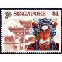 Singapur Sello Usado Turismo = Templo = Máscara = Ópera 1990