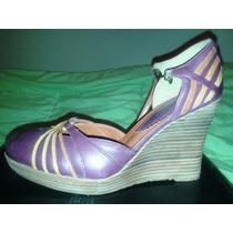 Zapatos Plataformas 38/39 Cerrados Con Hebilla, Unicas!