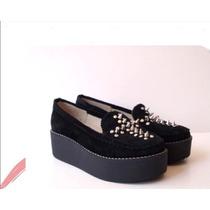 Zapatos Exclusivo 100% Cuero Gamuzado Con Tachas Negro