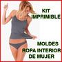Moldes De Conjunto Ropa Interior Mujer- Kit Imprimible