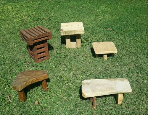 banquitos bancos madera rusticos para ios materos