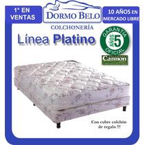 Colchon Y Sommier Cannon Platino 2plazas +2 Almohadas Regalo