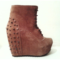 Botinetas 100% Cuero Gamuza Plataforma - Shoes Freak