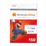 Codigo Tarjeta Nintentendo Eshop $50 Para Juegios 3ds Y Wiiu