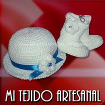 Gorrito Y Botita Para Bebé Tejidos Al Crochet