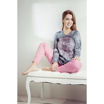 Pijama De Invierno Remera Manga Larga Y Pantalon Con Puños