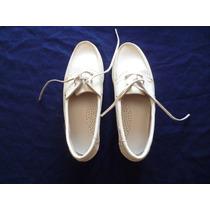 Zapatos Mocasines De Dama Marca Keine Yachting Cuero Blanco