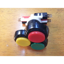 Pulsador Botón Triple Con Micros Importado