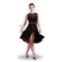 Vestido De Tango Y Noche Color Negro / Bordó - Talle M