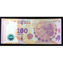 100 Pesos Eva Perón. Reposición. Sin Circular. Baja Numer.