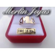 Anillo Doble Inicial Oro 18k - 2.5 Gramos - M. J. -