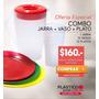 Jarra Plastica 2 Litros + 12 Unid Platos + 12 Vasos