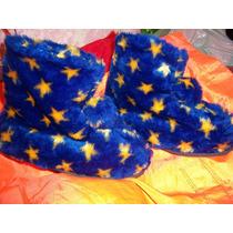 Botas Pantuflas Supercalientitas De Piel Sintetica Azul Oro
