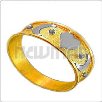 Anillo Combinado Oro 18 Kilates Mayor Menor -an3482- Newmar