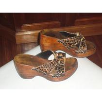 Zapatos Zuecos De Piel Simil Leopardo Con Taco De Madera