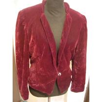 Retro Vintage Blazer Saco Terciopelo Color Bordo Talle M