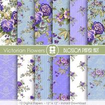 Kit Imprimible Victoria Flowers 12 Fondos *promo*