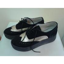 Zapatos Creepers Base De Goma Plataforma Acordonados Gamuza