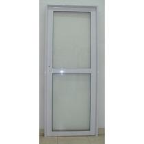 Puerta Aluminio Blanco Herrero Vidrio Entero 80x200