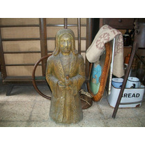 Antigua Escultura De Cemento Caballero Templario Lampara