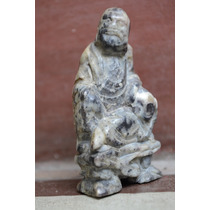 Antigua Talla Piedra Buda Samurai Oriental China Japon