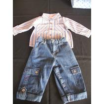 Set X 2 Piezas:(camisa + Pantalon Jeans).talle:6 - 12m (usa)