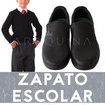 Zapatos Calzado Escolar Mocasin Cuero Negro Hombre- Araquina