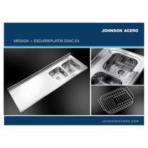 Mesada Acero Johnson 1.40 Bacha Doble + Escurreplatos Monoco