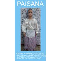 Disfraz Paisana Vendedora Pollera Camisa Talles 4/6/8/10