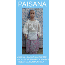 Disfraz Patrio Paisana Vendedora Pollera Flore Talle4/6/8/10